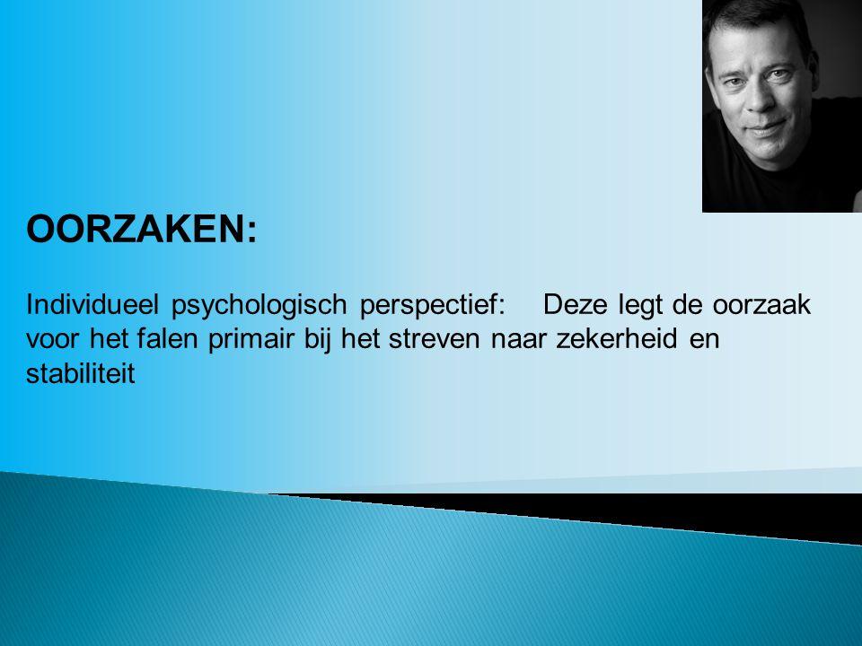 OORZAKEN: Individueel psychologisch perspectief: Deze legt de oorzaak voor het falen primair bij het streven naar zekerheid en stabiliteit.
