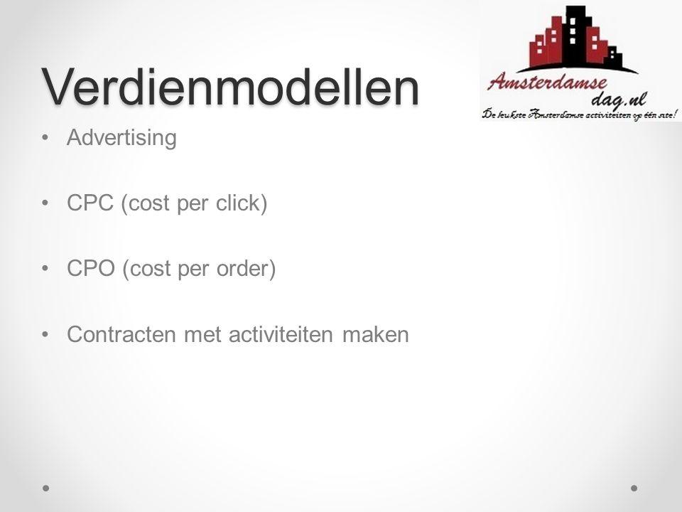 Verdienmodellen Advertising CPC (cost per click) CPO (cost per order)