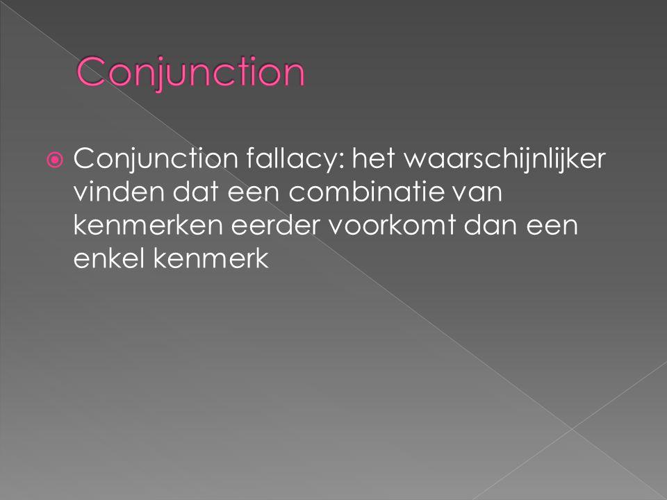 Conjunction Conjunction fallacy: het waarschijnlijker vinden dat een combinatie van kenmerken eerder voorkomt dan een enkel kenmerk.