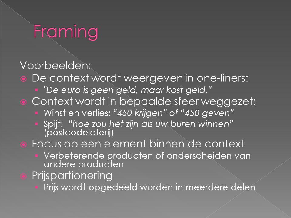 Framing Voorbeelden: De context wordt weergeven in one-liners: