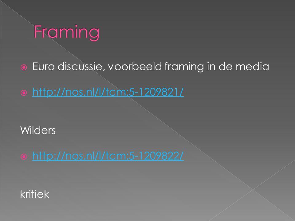 Framing Euro discussie, voorbeeld framing in de media