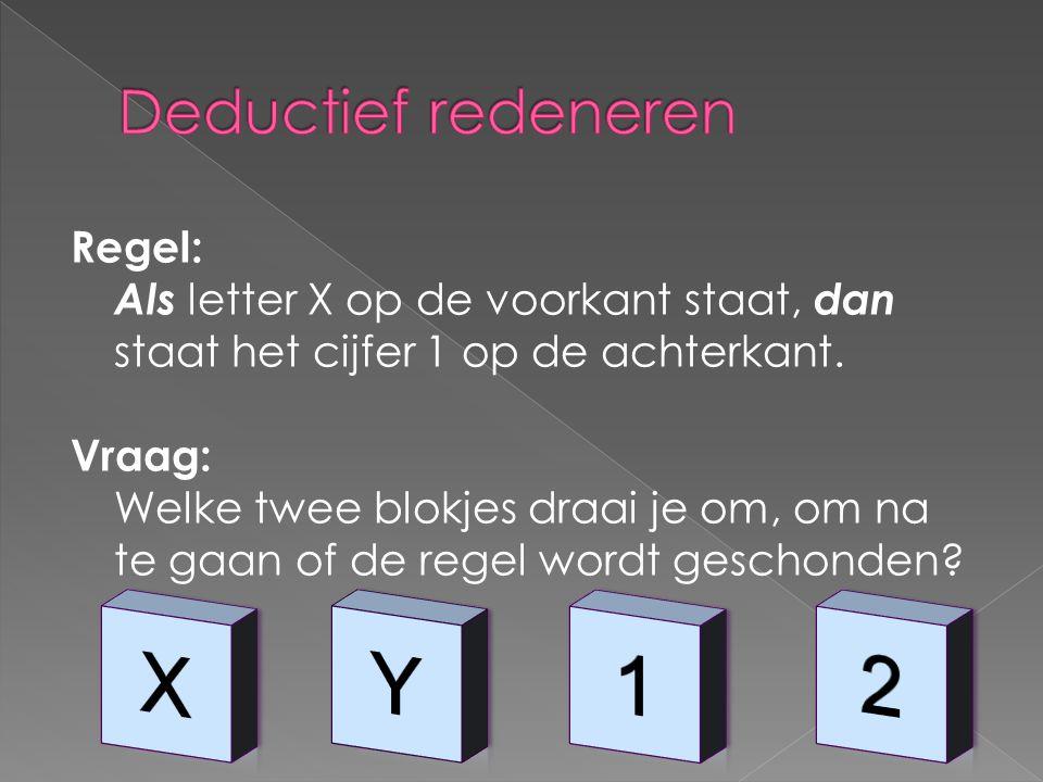 X Y 1 2 Deductief redeneren Regel:
