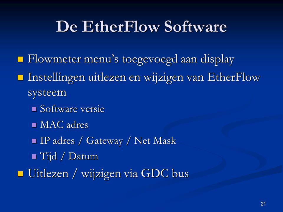 De EtherFlow Software Flowmeter menu's toegevoegd aan display