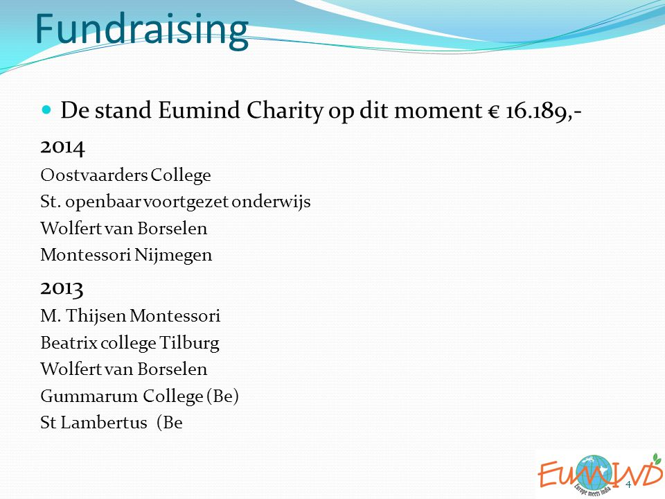 Fundraising De stand Eumind Charity op dit moment € 16.189,- 2014 2013