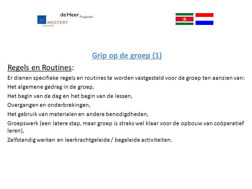 Grip op de groep (1) Regels en Routines:
