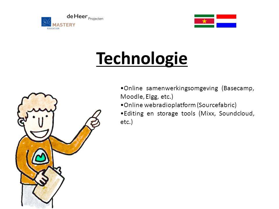 Technologie Online samenwerkingsomgeving (Basecamp, Moodle, Elgg, etc.) Online webradioplatform (Sourcefabric)