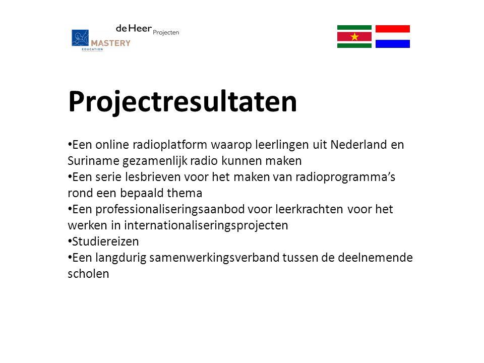 Projectresultaten Een online radioplatform waarop leerlingen uit Nederland en Suriname gezamenlijk radio kunnen maken.