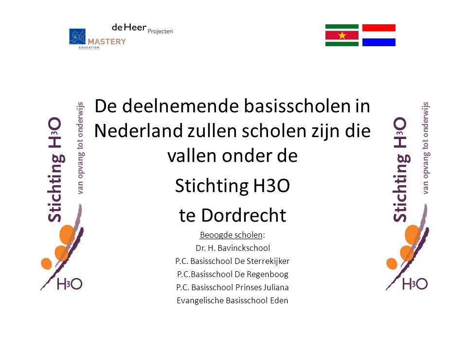 De deelnemende basisscholen in Nederland zullen scholen zijn die vallen onder de