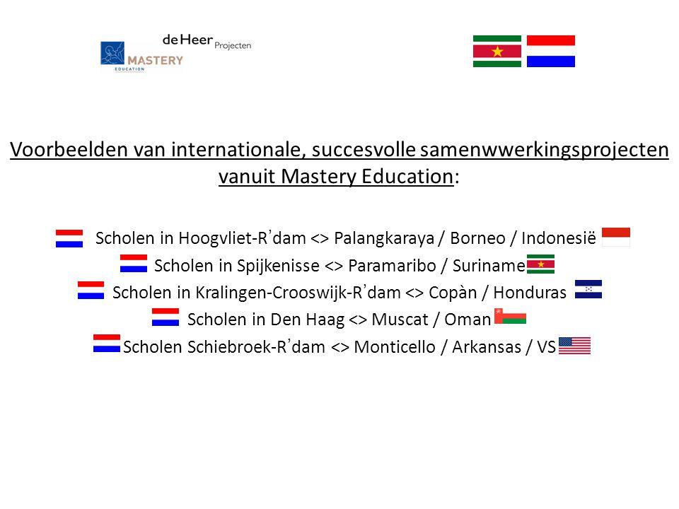 Voorbeelden van internationale, succesvolle samenwwerkingsprojecten vanuit Mastery Education: