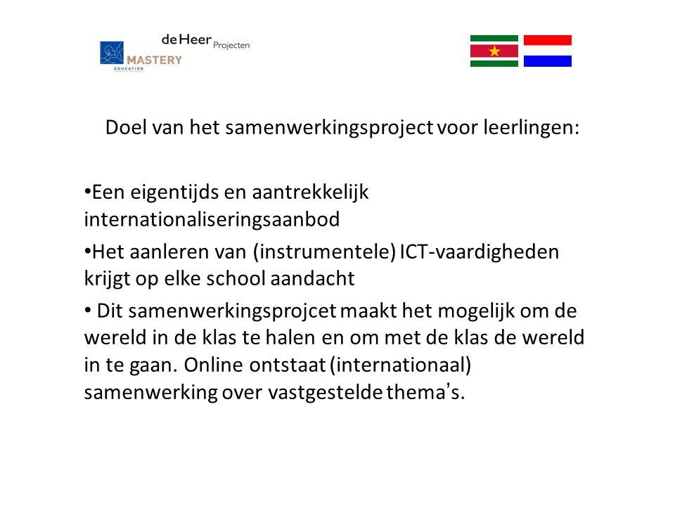 Doel van het samenwerkingsproject voor leerlingen: