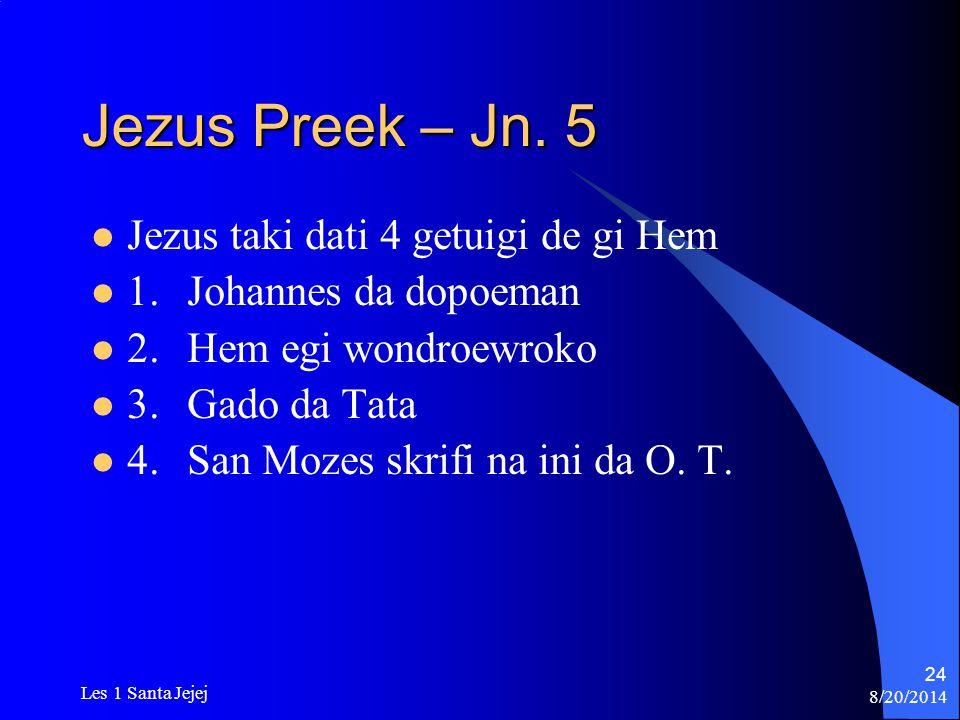Jezus Preek – Jn. 5 Jezus taki dati 4 getuigi de gi Hem