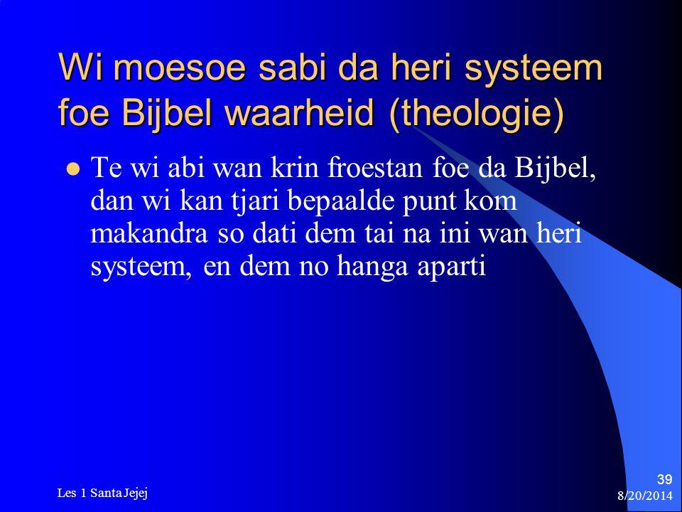 Wi moesoe sabi da heri systeem foe Bijbel waarheid (theologie)