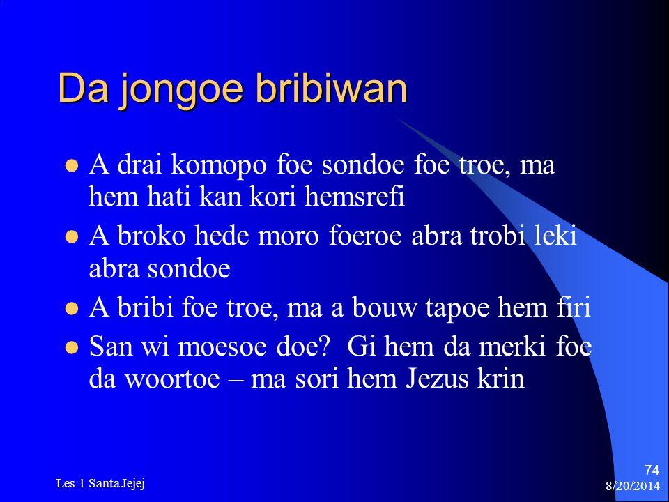 Da jongoe bribiwan A drai komopo foe sondoe foe troe, ma hem hati kan kori hemsrefi. A broko hede moro foeroe abra trobi leki abra sondoe.