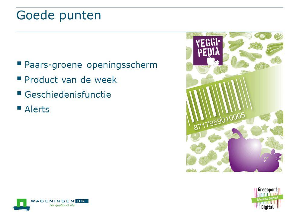Goede punten Paars-groene openingsscherm Product van de week