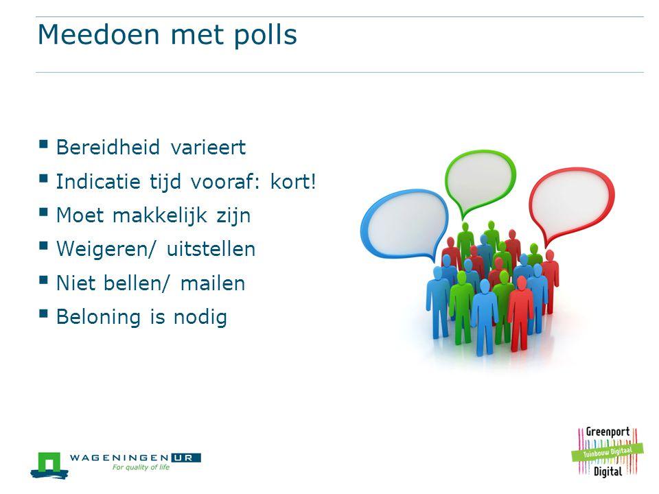 Meedoen met polls Bereidheid varieert Indicatie tijd vooraf: kort!