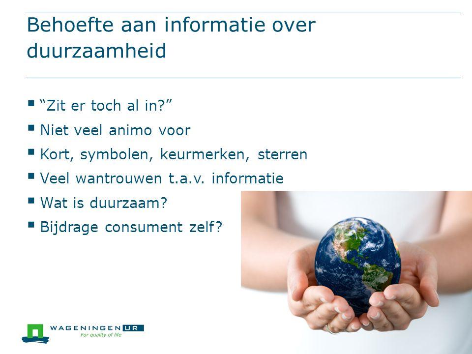 Behoefte aan informatie over duurzaamheid