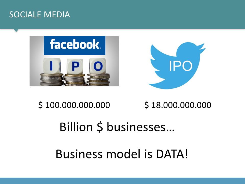 Billion $ businesses… Business model is DATA! Sociale media
