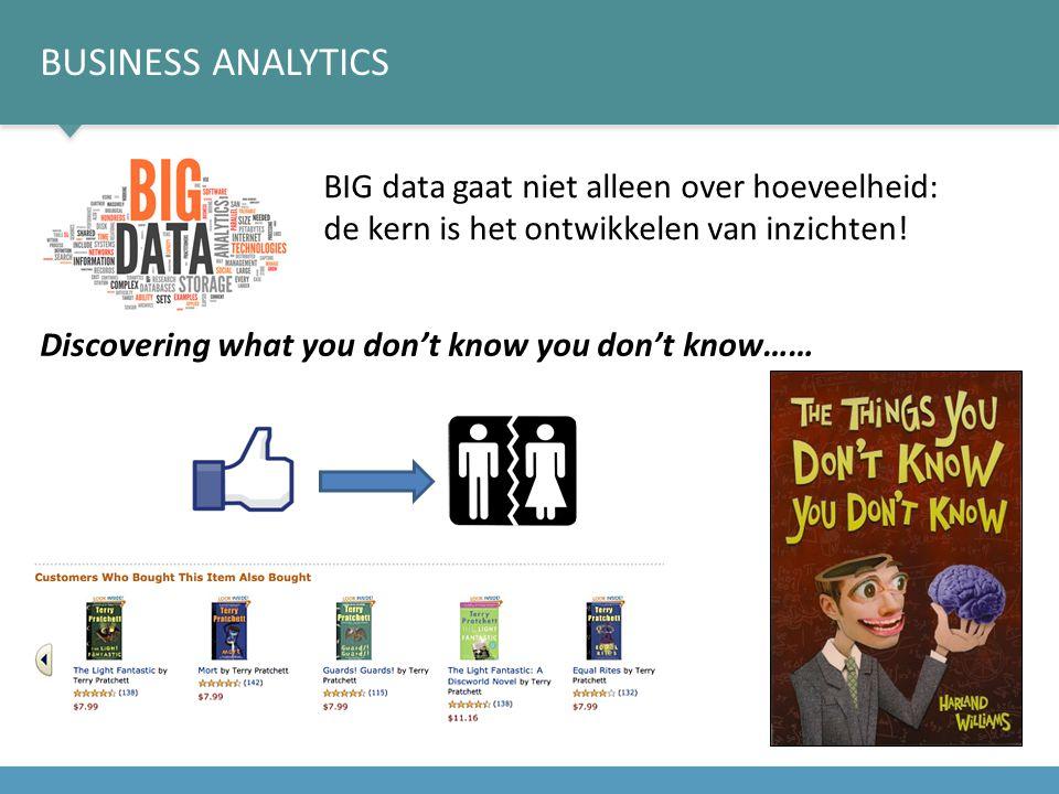 Business analytics BIG data gaat niet alleen over hoeveelheid: de kern is het ontwikkelen van inzichten!
