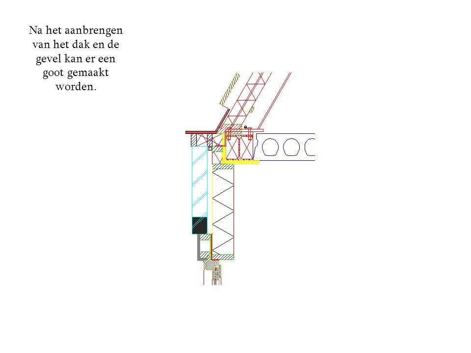 Na het aanbrengen van het dak en de gevel kan er een goot gemaakt worden.