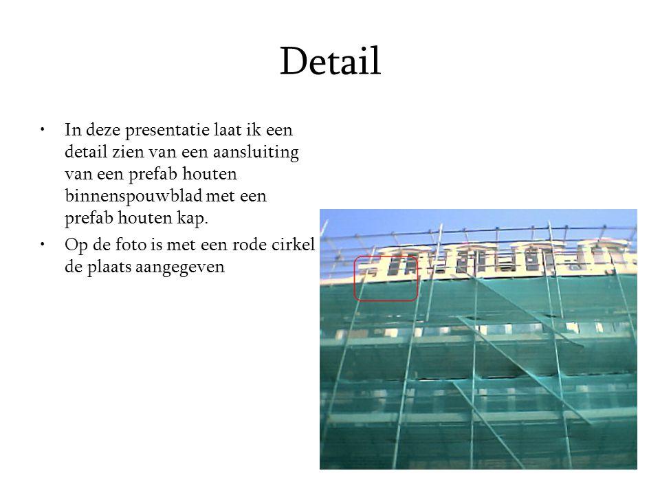 Detail In deze presentatie laat ik een detail zien van een aansluiting van een prefab houten binnenspouwblad met een prefab houten kap.