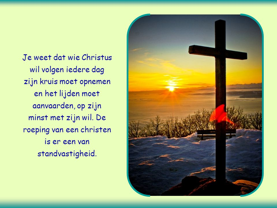 Je weet dat wie Christus wil volgen iedere dag zijn kruis moet opnemen en het lijden moet aanvaarden, op zijn minst met zijn wil.