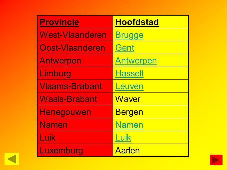 Provincie Hoofdstad. West-Vlaanderen. Brugge. Oost-Vlaanderen. Gent. Antwerpen. Limburg. Hasselt.