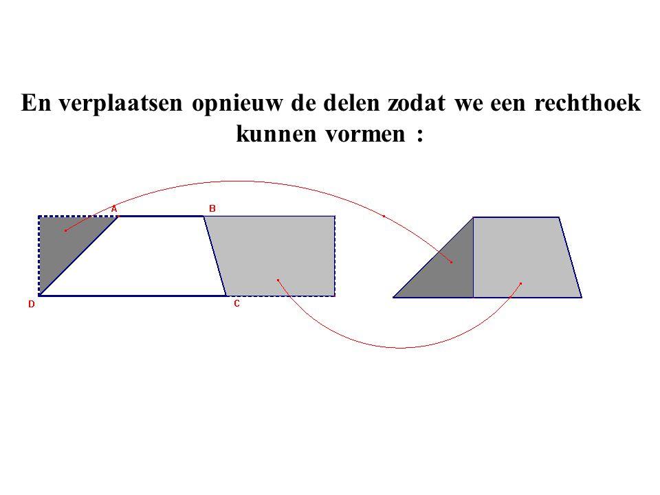 En verplaatsen opnieuw de delen zodat we een rechthoek kunnen vormen :