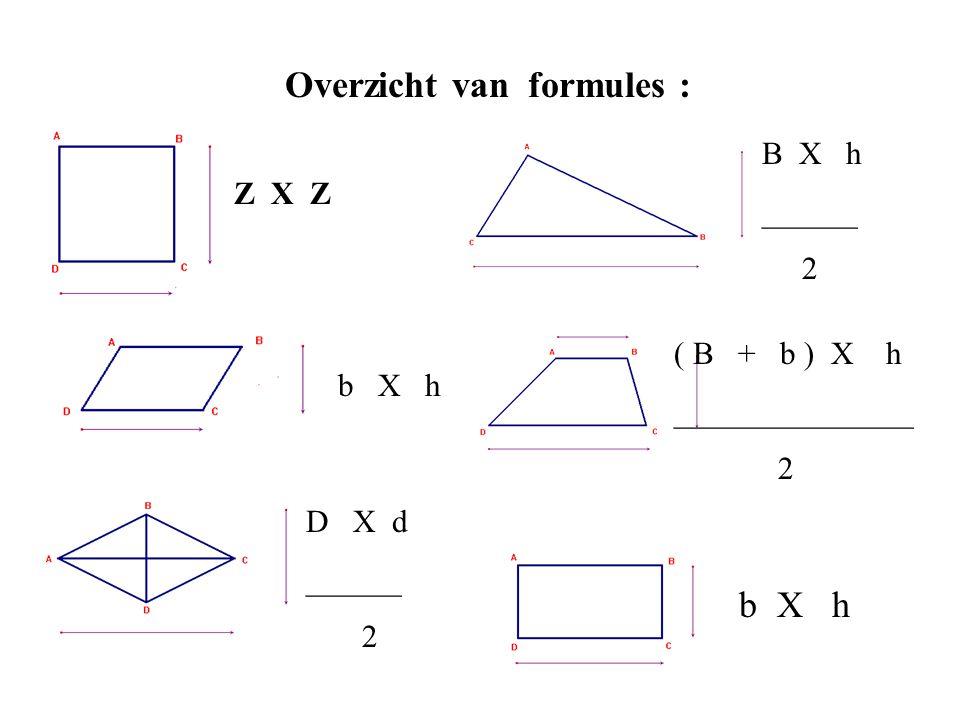 Overzicht van formules :