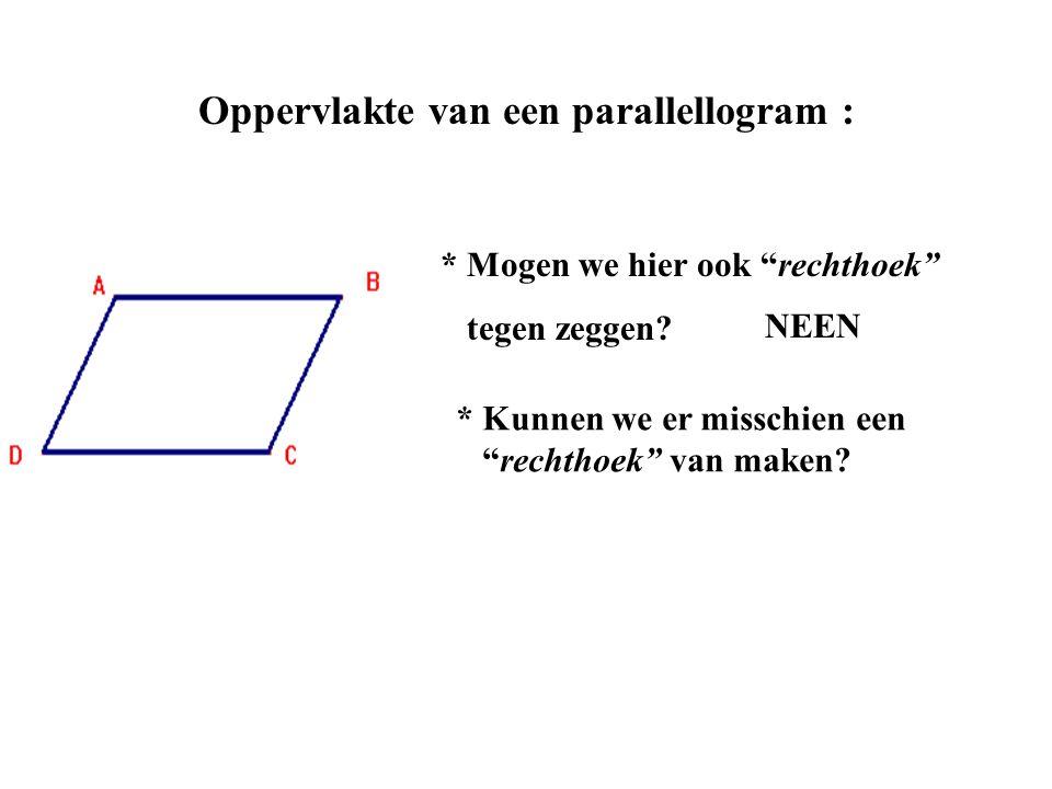 Oppervlakte van een parallellogram :
