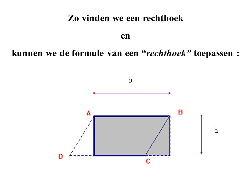 Zo vinden we een rechthoek en