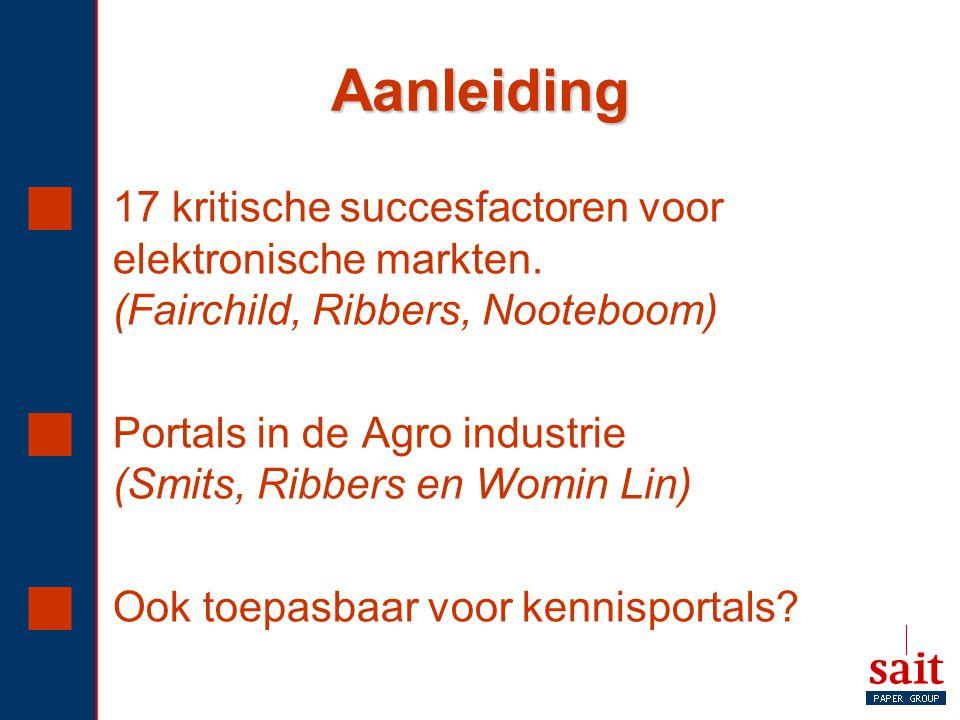 Aanleiding 17 kritische succesfactoren voor elektronische markten. (Fairchild, Ribbers, Nooteboom)