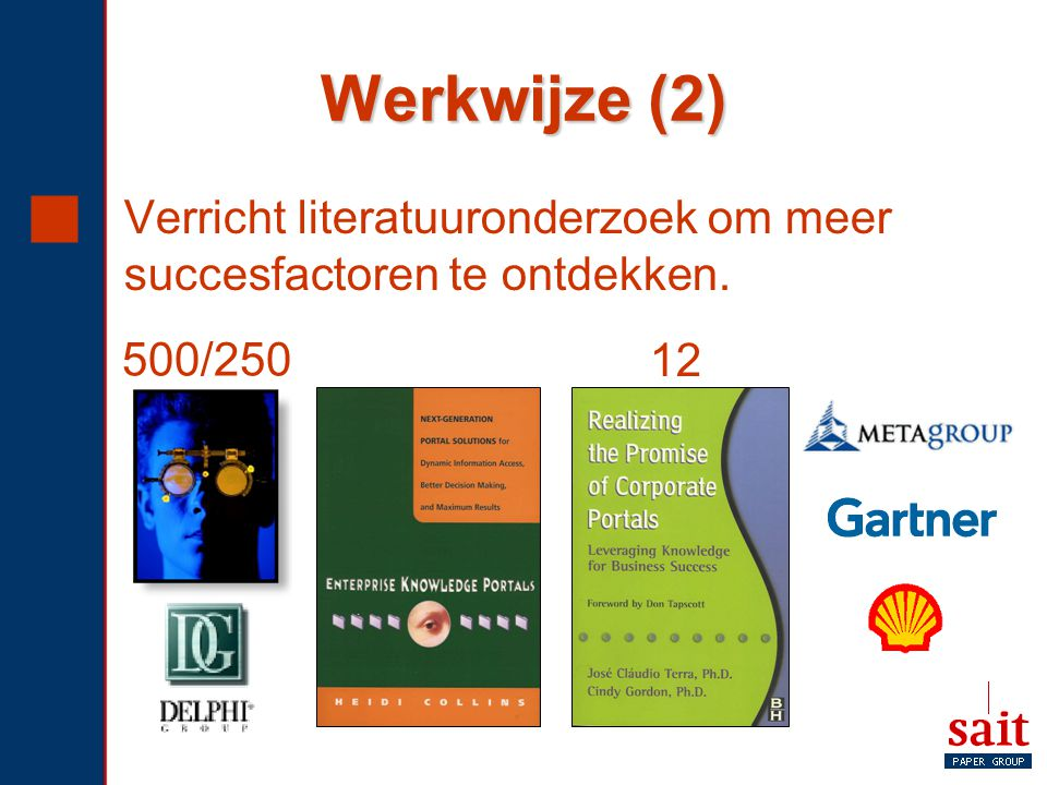 Werkwijze (2) Verricht literatuuronderzoek om meer succesfactoren te ontdekken. 500/250. 12.
