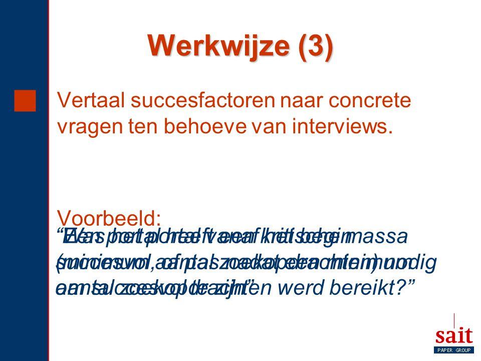 Werkwijze (3) Vertaal succesfactoren naar concrete vragen ten behoeve van interviews. Voorbeeld: