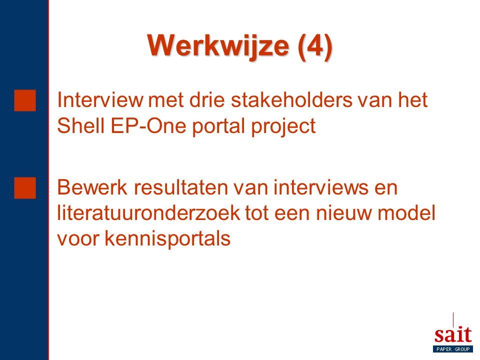 Werkwijze (4) Interview met drie stakeholders van het Shell EP-One portal project.