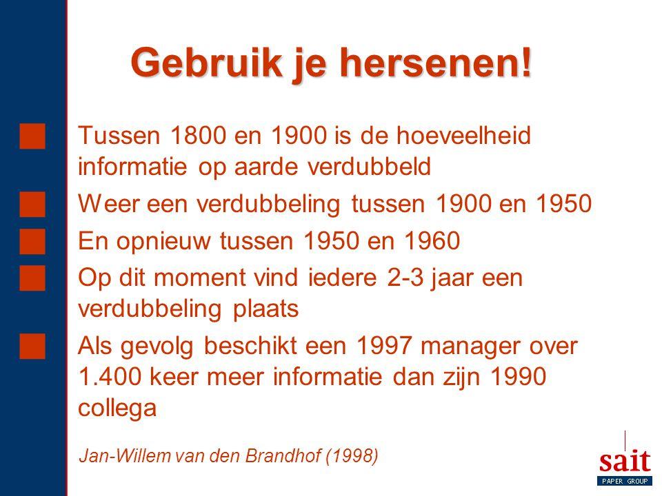 Gebruik je hersenen! Tussen 1800 en 1900 is de hoeveelheid informatie op aarde verdubbeld. Weer een verdubbeling tussen 1900 en 1950.