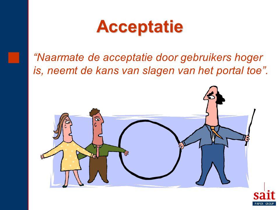 Acceptatie Naarmate de acceptatie door gebruikers hoger is, neemt de kans van slagen van het portal toe .