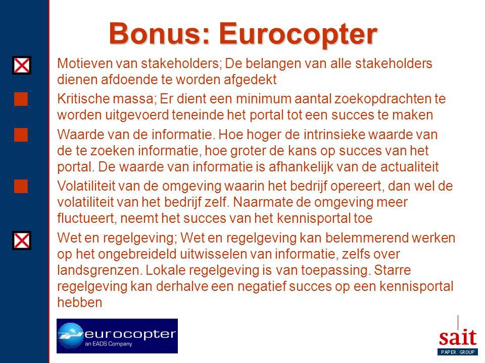 Bonus: Eurocopter Motieven van stakeholders; De belangen van alle stakeholders dienen afdoende te worden afgedekt.