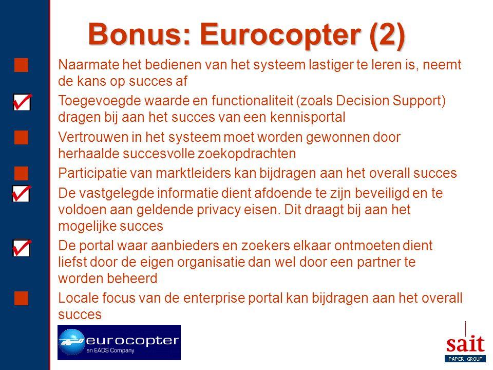 Bonus: Eurocopter (2) Naarmate het bedienen van het systeem lastiger te leren is, neemt de kans op succes af.