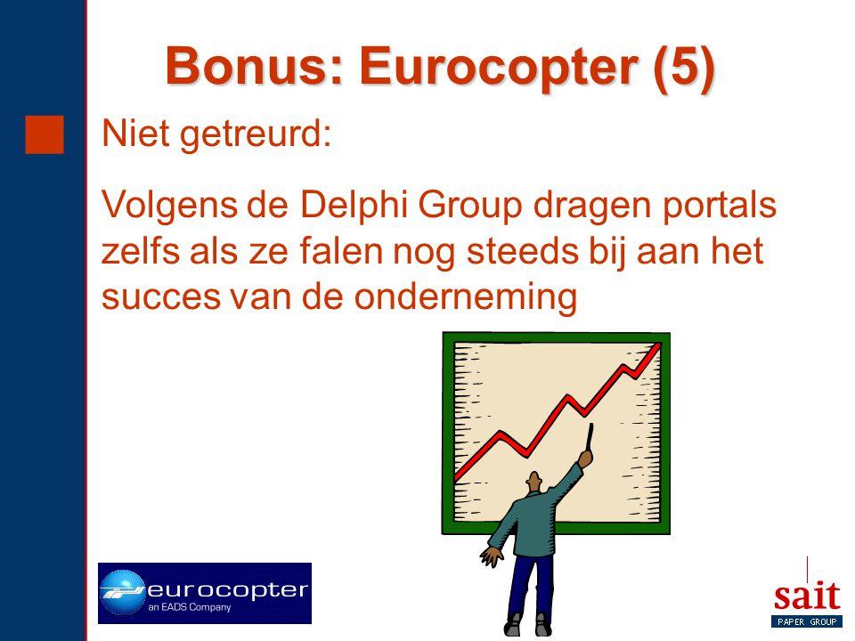 Bonus: Eurocopter (5) Niet getreurd: Volgens de Delphi Group dragen portals zelfs als ze falen nog steeds bij aan het succes van de onderneming.