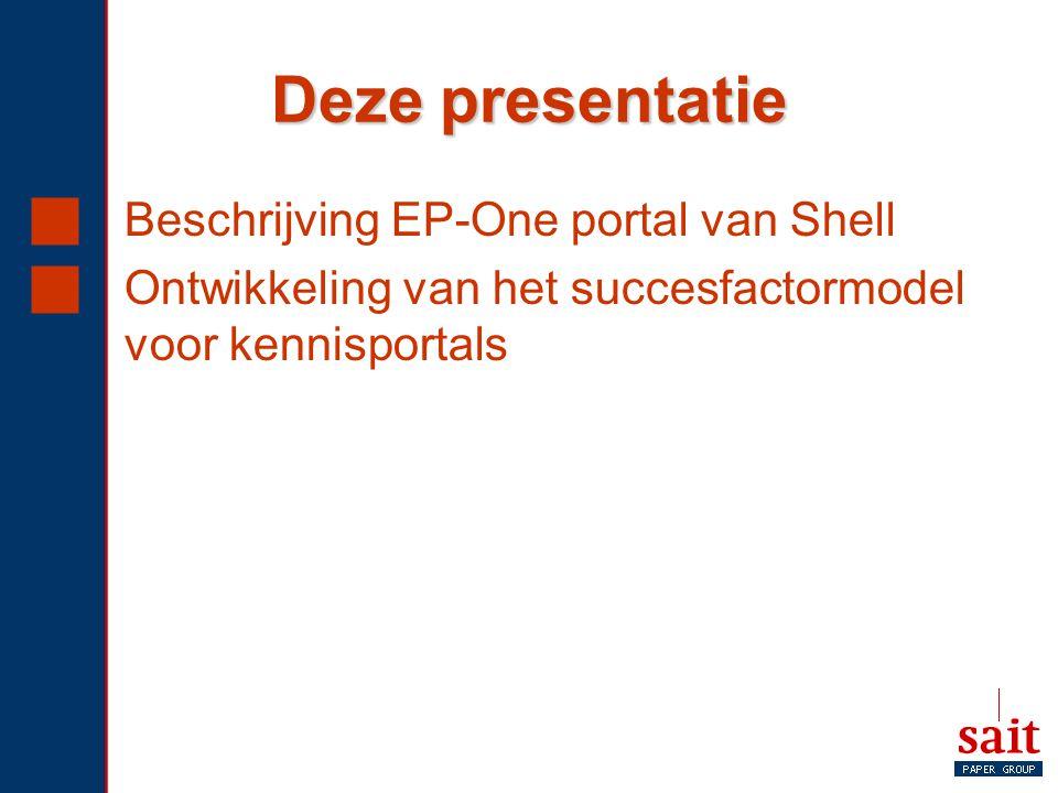 Deze presentatie Beschrijving EP-One portal van Shell