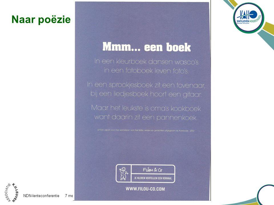 Naar poëzie NDN-lenteconferentie 7 mei 2010 Antwerpen