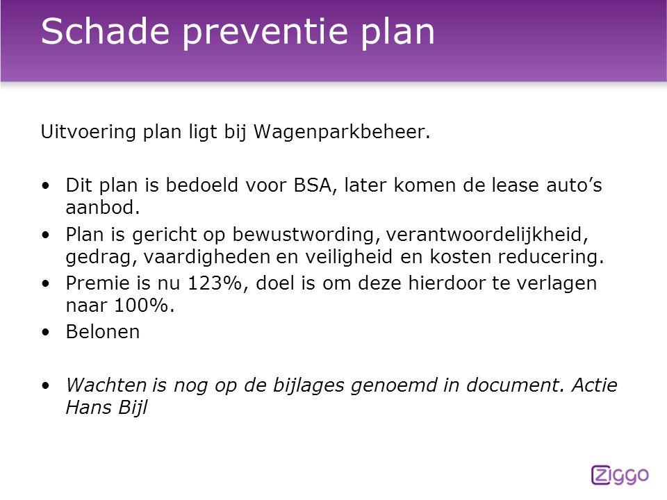Schade preventie plan Uitvoering plan ligt bij Wagenparkbeheer.