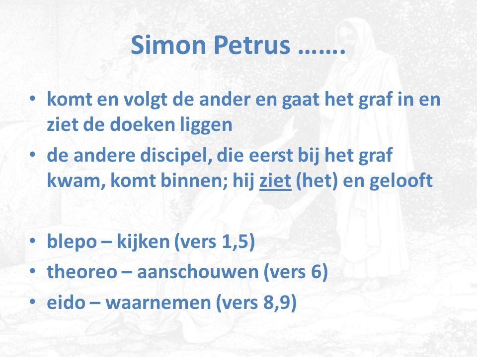 Simon Petrus ……. komt en volgt de ander en gaat het graf in en ziet de doeken liggen.