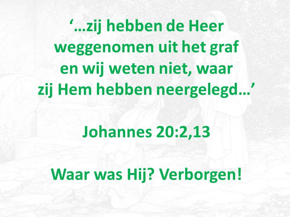 '…zij hebben de Heer weggenomen uit het graf en wij weten niet, waar zij Hem hebben neergelegd…' Johannes 20:2,13 Waar was Hij.
