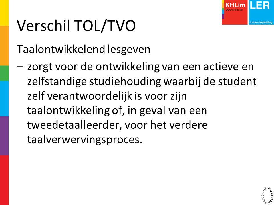 Verschil TOL/TVO Taalontwikkelend lesgeven