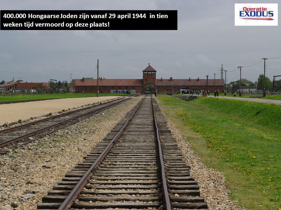 400.000 Hongaarse Joden zijn vanaf 29 april 1944 in tien weken tijd vermoord op deze plaats!
