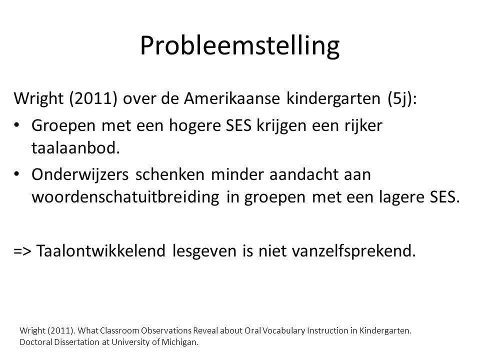 Probleemstelling Wright (2011) over de Amerikaanse kindergarten (5j):
