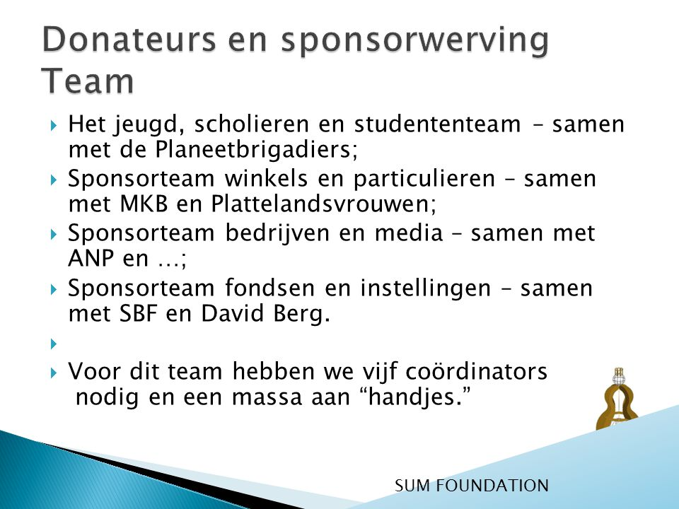 Donateurs en sponsorwerving Team