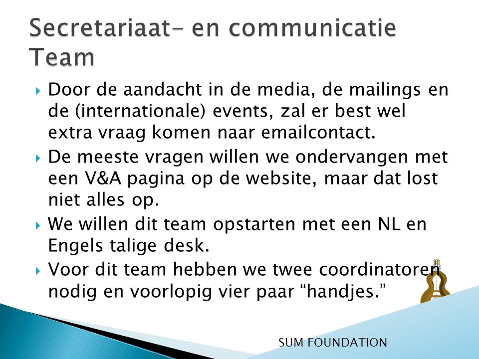 Secretariaat- en communicatie Team