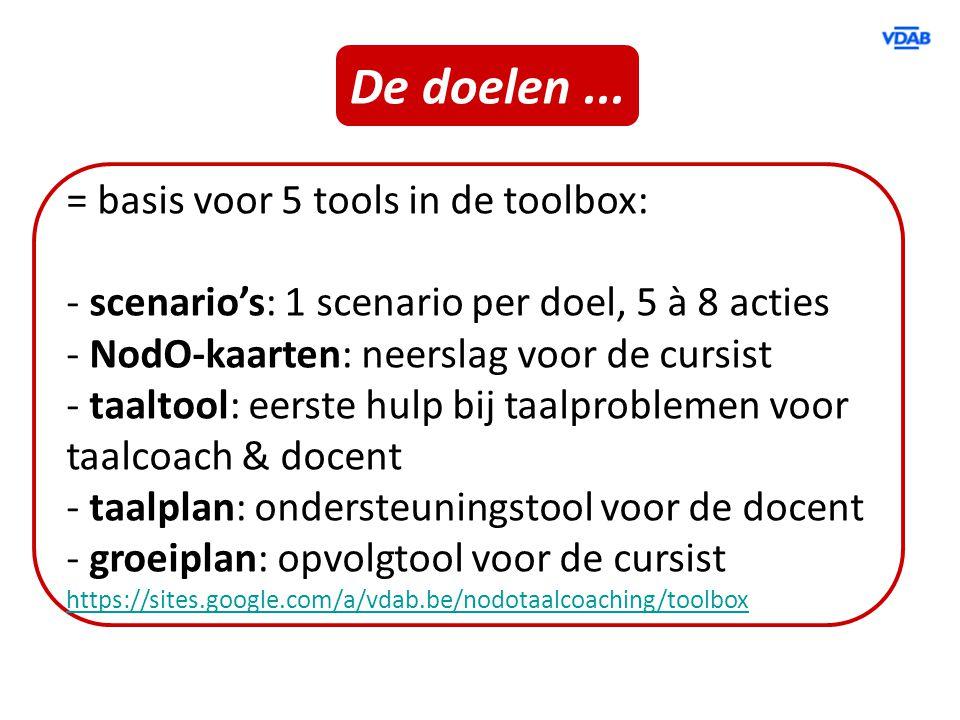 De doelen ... = basis voor 5 tools in de toolbox: